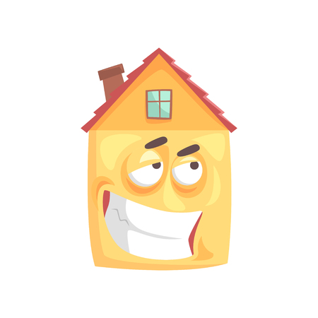 Cute house cartoon character with ironical expression on its face, funny  emoticon vector illustration isolated on a white background Ilustração