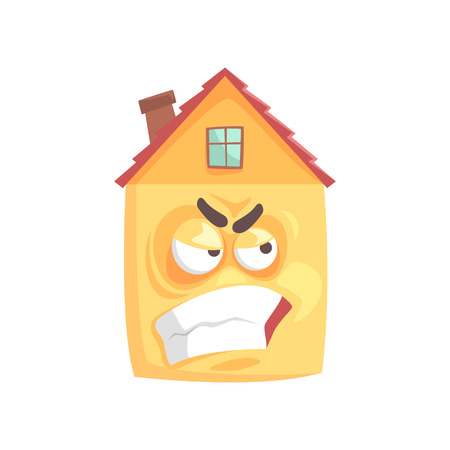 Cute angry house cartoon character, funny facial expression emoticon vector illustration isolated on a white background Çizim