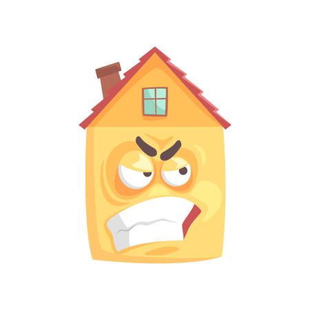 Leuke boos huis stripfiguur, grappige gelaatsuitdrukking emoticon vectorillustratie geïsoleerd op een witte achtergrond Stock Illustratie