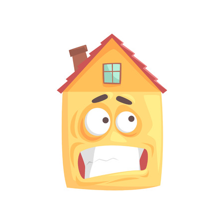 Cute house cartoon character with nervous smile, funny facial expression emoticon vector illustration isolated on a white background
