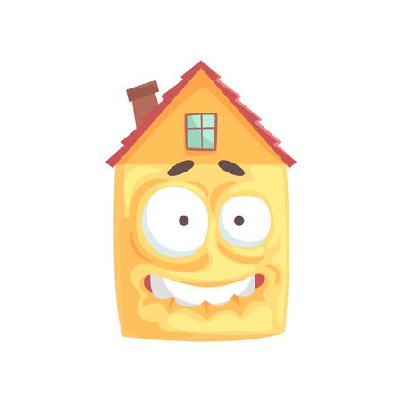 Bang huis stripfiguur met blote tanden, grappige gezichtsuitdrukking emoticon vector illustratie geïsoleerd op een witte achtergrond