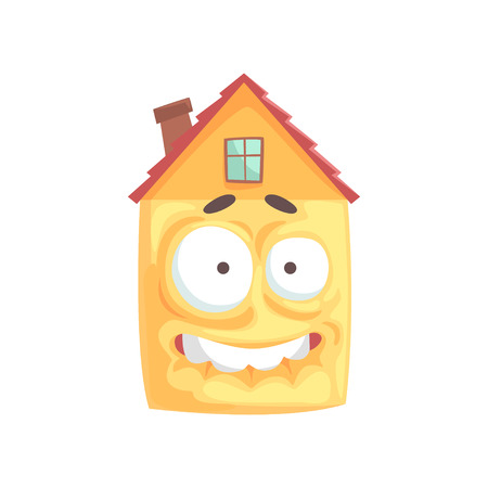 Scared house cartoon character showing bared teeth, funny facial expression emoticon vector illustration isolated on a white background