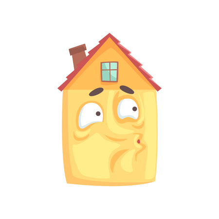 Cute house character whistling, funny facial expression emoticon cartoon vector illustration isolated on a white background