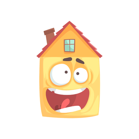 Cute frightened house cartoon character, funny facial expression emoticon vector illustration isolated on a white background