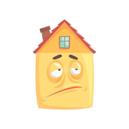 Cute house cartoon character with skeptical expression on its face, funny  emoticon vector illustration isolated on a white background