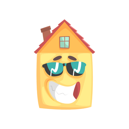 Cute house cartoon character with smiling face and sunglasses, funny facial expression emoticon vector illustration