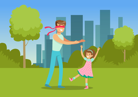 Father playing hide and seek with his daughter in city park outside, family leisure vector illustration