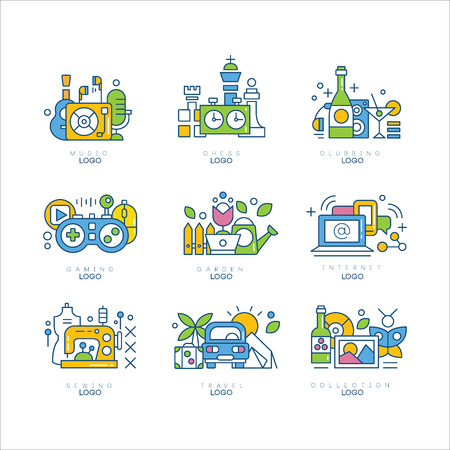 set, music, chess, clubbing, gaming, garden, internet, sewing, travel, collection labels, creativity, science and art vector illustrations