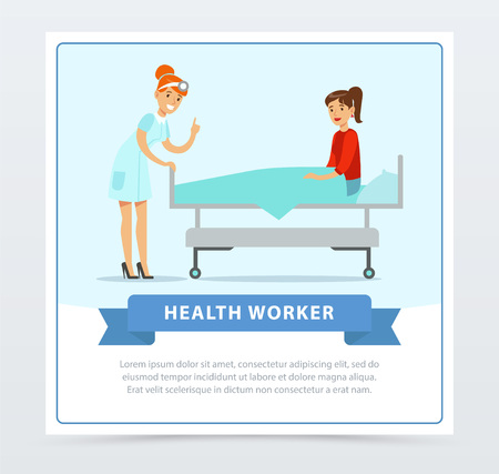 Female otolaryngologist doctor treating the patient, health worker banner flat vector element for website or mobile app