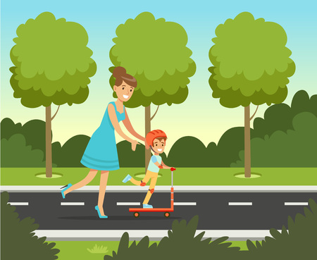 Little preschool boy having fun with her mother in summer park outside, family leisure vector illustration