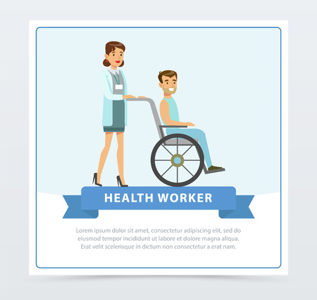 Female doctor pushing disabled man sitting on wheelchair, health worker banner flat vector element for website or mobile app Illustration