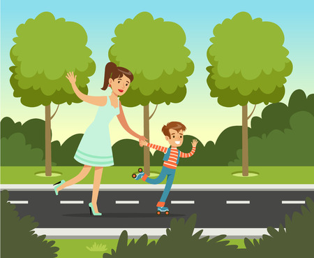 Smiling mother with her son roller skating in summer park outside, family leisure vector illustration