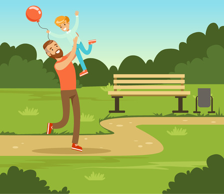 Boy playing with his father in summer park outside, dad and son having fun together, family leisure vector illustration Illustration