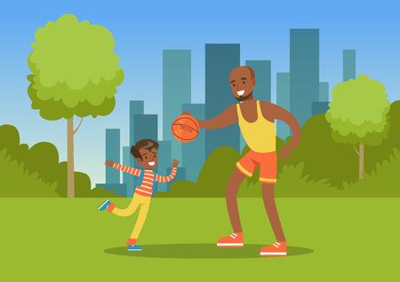 Father playing ball with his son in city park outside, family leisure vector illustration