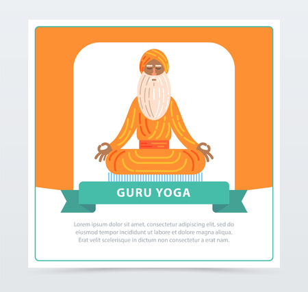 Guru yoga banner, meditating yoga man flat vector element for website or mobile app