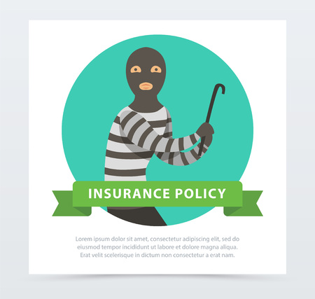 Robber in mask with crowbar, property protection insurance policy banner flat vector element for website or mobile app Иллюстрация