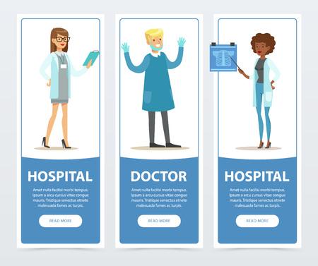 Doctor and hospital banners set, medical staff flat vector element for website or mobile app Illusztráció