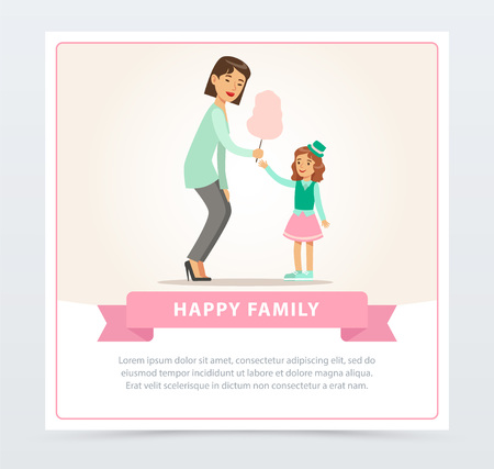 Mom giving cotton candy to her daughter, happy family banner flat vector element for website or mobile app
