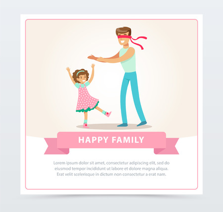 Father playing hide and seek with his daughter, happy family banner flat vector element for website or mobile app