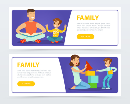 Family banners set, happy parents playing and reading books with their children flat vector element for website or mobile app Illustration