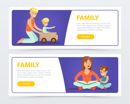 Family banners set, happy parents playing and reading books with their kids flat vector element for website or mobile app Illustration
