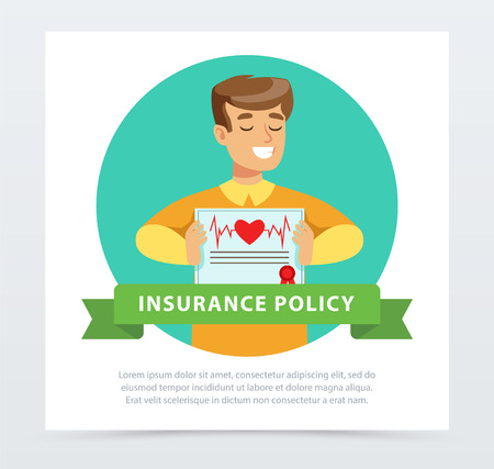 Manager or agent with a document protection, health and life insurance concept, insurance policy banner flat vector element for website or mobile app