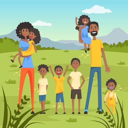 自然背景平面ベクトル図の多くの子供連れの幸せ黒  イラスト・ベクター素材