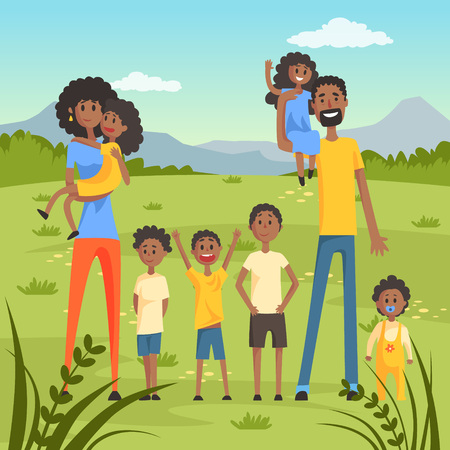 Happy black family with many children on nature background flat vector illustration Illustration