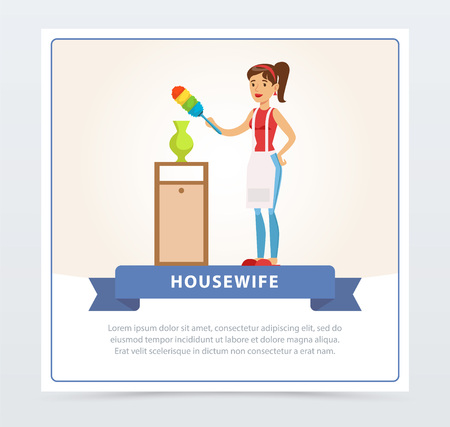 Young  beautiful woman wiping dust at home, housewife banner flat vector element for website or mobile app Illustration