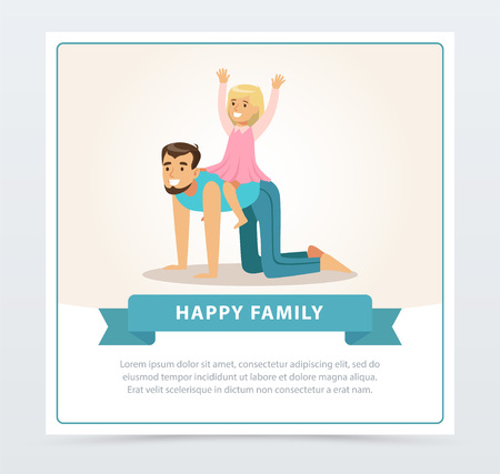 Little girl riding her dad like horse, dad and daughter having fun together, happy family banner flat vector element for website or mobile app Illusztráció