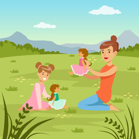 Mother and her daughter playing dolls on  nature background, family leisure flat vector illustration