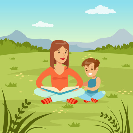 Mother reading a book to her son on  nature background, family leisure flat vector illustration