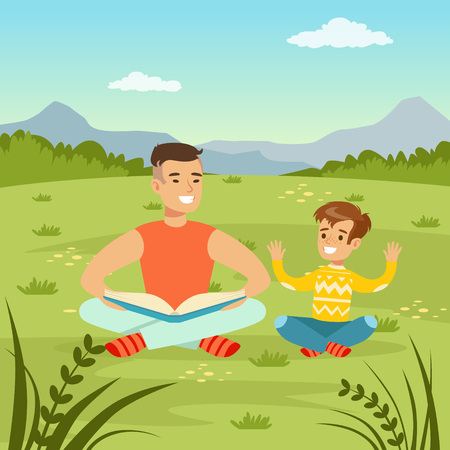 Father reading a book to his son on  nature background, family leisure flat vector illustration