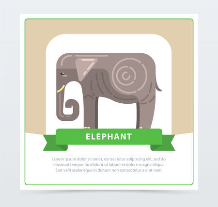 Elephant banner, Indian sacred animal flat vector element for website or mobile app