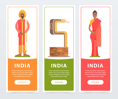 India banners set, travel to India flat vector element for website or mobile app