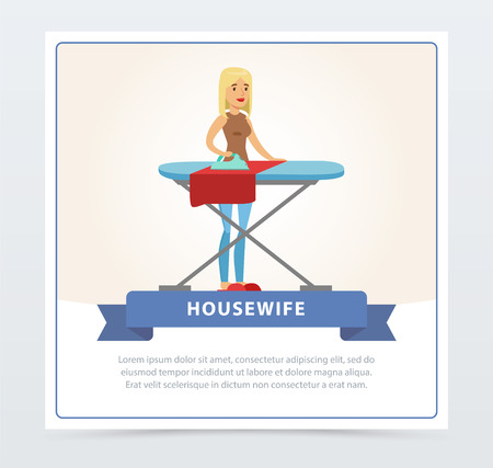 Jonge mooie vrouw strijken van kleding op een strijkplank, huisvrouw banner platte vectorelement voor website of mobiele app