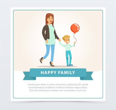Mother and her son, smiing little boy with balloon, happy family banner flat vector element for website or mobile app