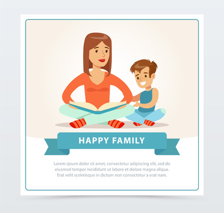 Mother reading a book to her smiling son, happy family banner flat vector element for website or mobile app Illustration