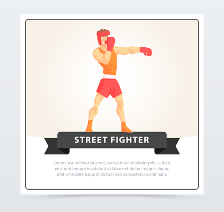 Muscular boxer in gloves and helmet, street fighter banner cartoon vector element for website or mobile app with sample text Illustration