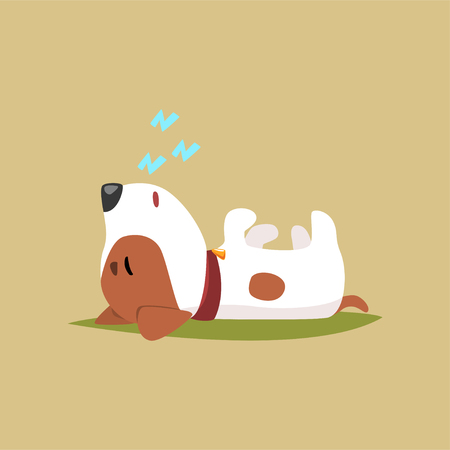 Jack russell puppy character sleeping on its back, cute funny terrier vector illustration on a beige background
