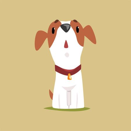 Jack Russell-Welpencharakter, der oben, nette lustige Terriervektorillustration schaut