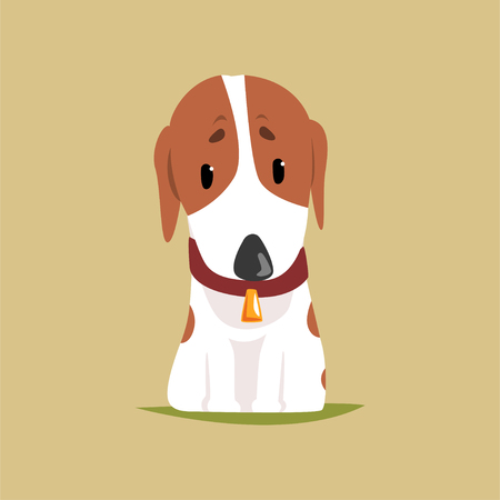 Jack russell puppy character, cute terrier vector illustration