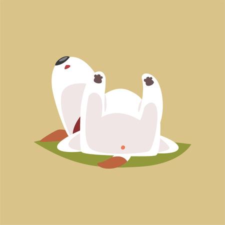 Welpencharakter Jacks Russell, der auf seinem zurück, nette lustige Terriervektorillustration auf einem beige Hintergrund schläft Vektorgrafik