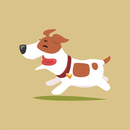 Jack russell-puppykarakter die, leuke grappige terriër vectorillustratie op een beige achtergrond lopen Stock Illustratie