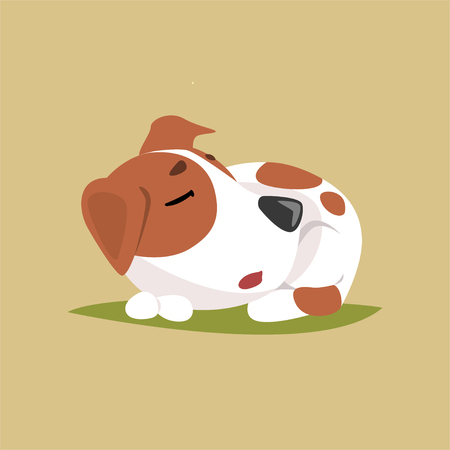 Jack russell puppy character sleeping, cute funny terrier vector illustration