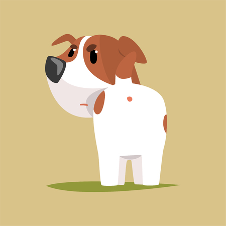 Jack russell puppy character back view, cute funny terrier vector illustration on a beige background