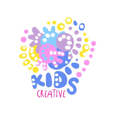 Scherzt kreative, bunte Hand gezeichnete Aufkleber für den Kinderclub, die Mitte, die Schule, das Kunststudio, den Spielwarenshop und die Vektorillustration anderer Kinderprojekte, die auf einem weißen Hintergrund lokalisiert wird Standard-Bild - 90187332