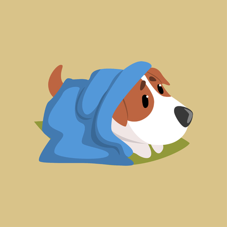 Jack russell puppy character lying on the floor under blue plaid, cute funny terrier vector illustration on a beige background