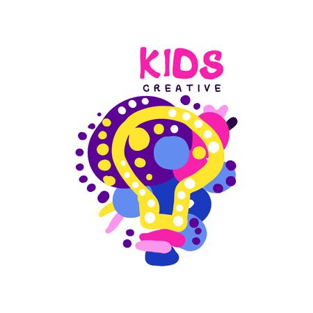 Scherzt kreatives buntes, Aufkleber für den Kinderverein, Mitte, Schule, Kunststudio, Spielwarenshop und die gezeichnete Vektorillustration anderer Kinderprojekte, die auf einem weißen Hintergrund lokalisiert wird Standard-Bild - 90187377