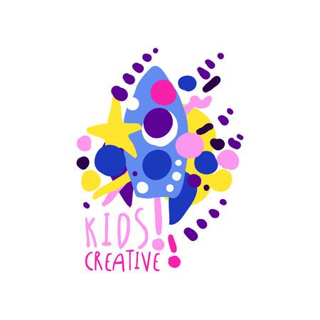 Scherzt kreative bunte Designschablone, Aufkleber für Kinderclub, Mitte, Schule, Kunststudio, Spielwarenshop und die gezeichnete Vektorillustration anderer Kinderprojekte, die auf einem weißen Hintergrund lokalisiert wird Standard-Bild - 90187386